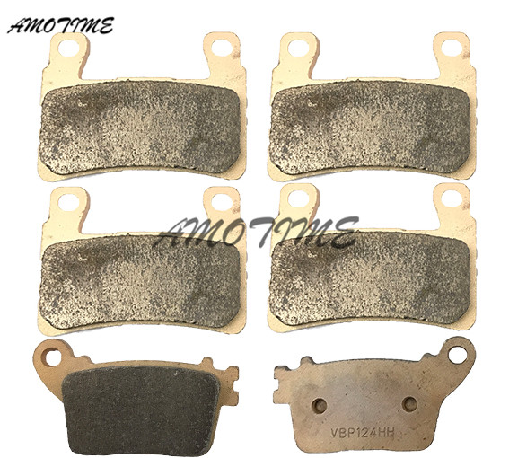 Motorcycle Parts Copper Based Sintered Motor Front & Rear Brake Pads For Kawasaki ZX-6R EDF FDF ABS 2013 2014