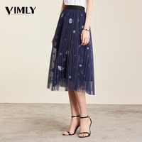 Vimly Mesh Midi Pleated Women Skirt Romantic Sequin Embroidery Tulle Midi Skirt Women Spring Summer Korean Elastic Waist Skirts