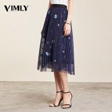 Vimly Mesh Midi plisowana spódnica dla kobiet romantyczny cekiny tiul z haftem spódnica trzy czwarte kobiet wiosna lato koreański elastyczny pas spódnice