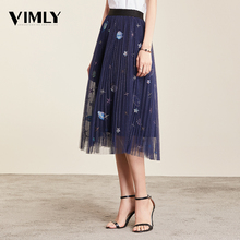 Vimly רשת Midi קפלים נשים חצאית רומנטי נצנצים רקמת טול Midi חצאית נשים אביב קיץ קוריאני אלסטי מותניים חצאיות