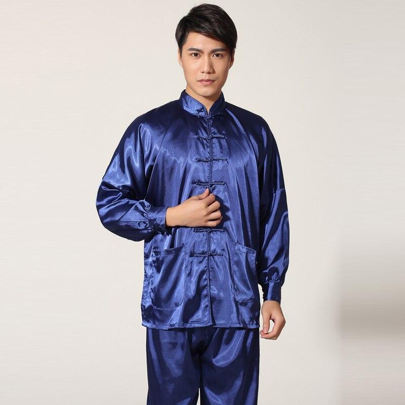 Chinese Homens Terno De Algodão Kung Fu Wu Shu Tai Chi Uniforme Camisa de Manga longa + Calça Curta roupas calças wing chun tai chi uniforme 4