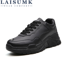 LAISUMK Men Pu Leather Shoes Black White Casual Brand Male Comfortable For Boy Hard-Wearing Platform