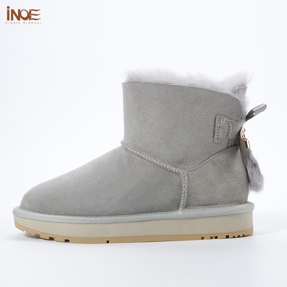 INOE Sheepskin Leather Wool Fur Lined Women Short Ankle Winter Suede Snow Boots with Bowknots Mink Fur Tassels Keep Warm Shoes - 5