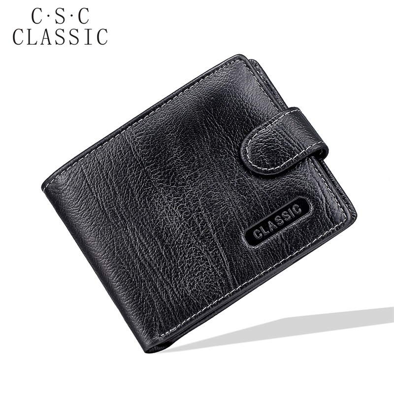 NEW Black Real Genuine Leather billetera cartera Bifold Clutch Purses and Wallets Men ID Credit Card Coin Money Dollars Pocket lucky ff718 licd