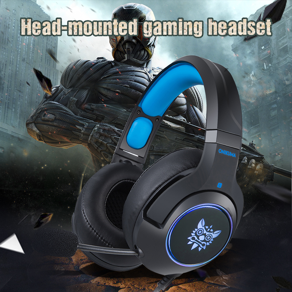 ONIKUMA K9 Gaming Headset Casque PC Stereo Gaming Headphones with Microphone LED Light For Laptop/ PS4/Xbox One Controller Gamer xiberia s22 casque ps4 gaming headset best 3 5mm pc gamer stereo headphones with microphone for xbox one laptop computer