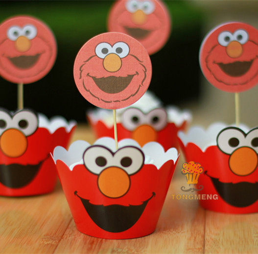 48pcs Sesame Street cupcake wrappers&toppers decoration kids baby birthday party supplies AW-0017