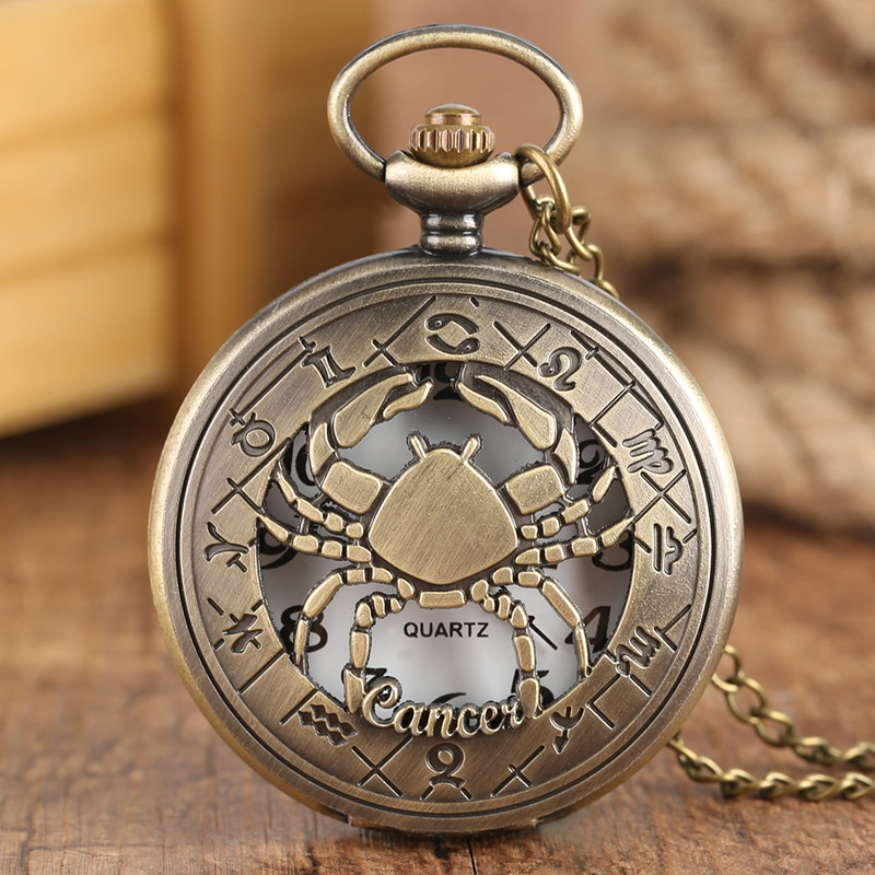 12 Constellation Astrology Zodiac Retro Pocket Watch Bronze Necklace Pendant Mens Women Hollow Flip Cover Quartz Christmas Gifts