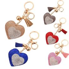 Starry-Styling Love Rhinestone Tassel Keychain Bag Handbag Key Ring Car Key Pendant Delicate 2017 New Gift