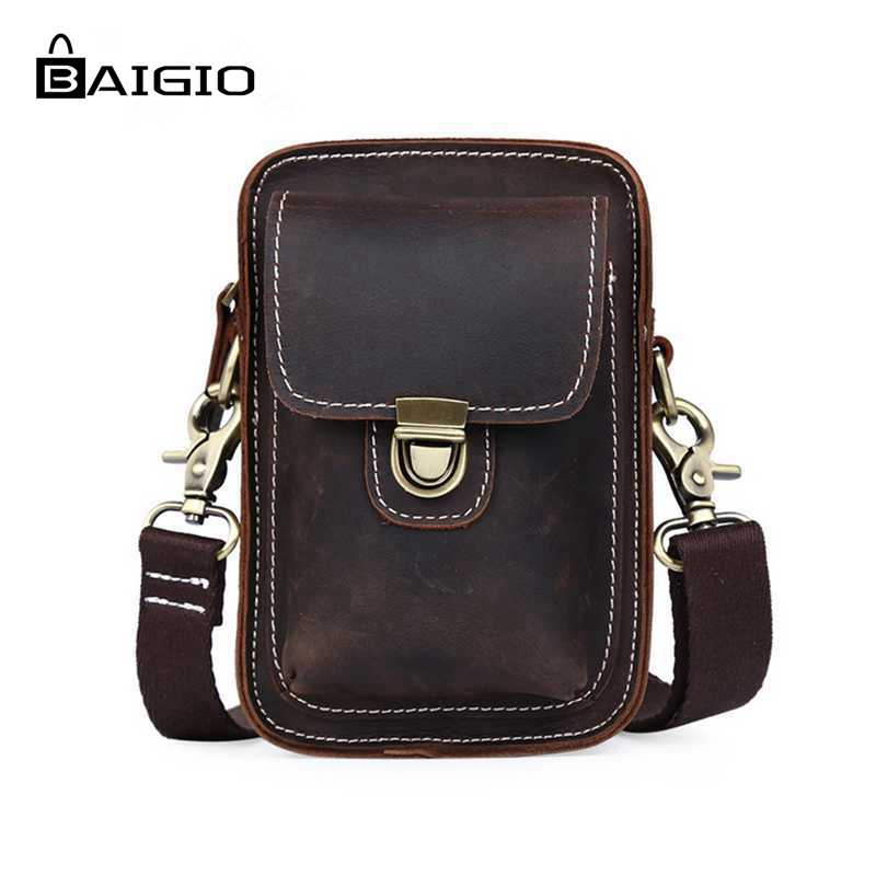 Baigio Men Waist Bag Genuine Leather Bag Belt Fanny Pack Mobile Phone Bag Vintage Brown Male Travel Pouch Bags Casual Man Purses brand logo new multifunctional genuine leather waist pack for men women bags travel belt bag money pouch