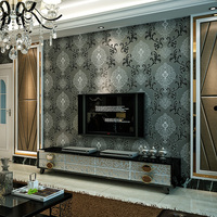 Three-dimensional 3d tv wall background wallpaper non-woven fashion damask flower background wall wallpaper