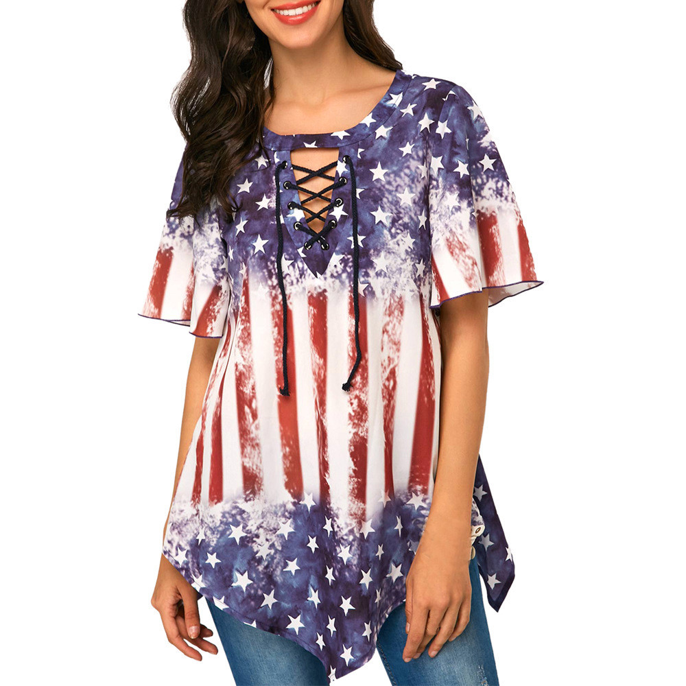 Independence Day Printed Women Blouse Plus size V Neck Asymmetrical hem Tops Loose Tunic summer Blouses Femme Shirt blusas 3