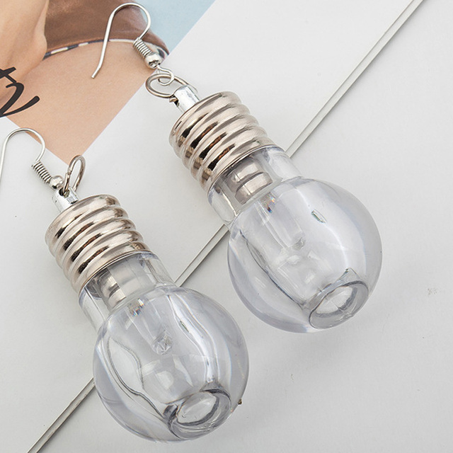 New Style Hot Fashion Design Transparent Bulbs Tubes Drop Earrings Personalized Cololul Lighting Earrings for Women Punk Brincos 1