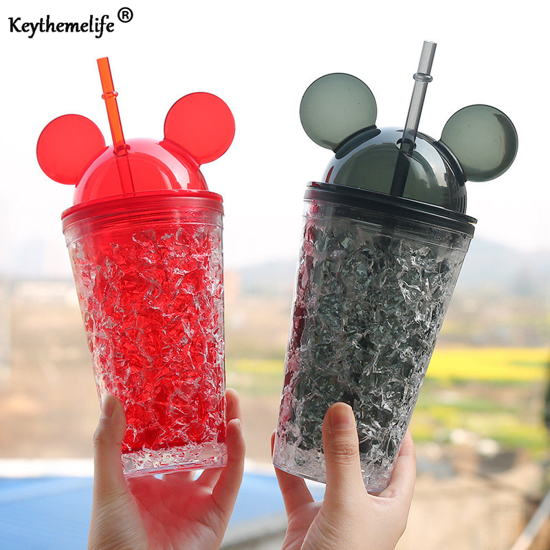 Keythemelife Summer Mickey Water Bottles <font><b>Large</b></font> <font><b>Capacity</b></font> <font><b>Straw</b></font> Water Bottles for Kids Girl School Cold Drink <font><b>Juice</b></font> kettle E7