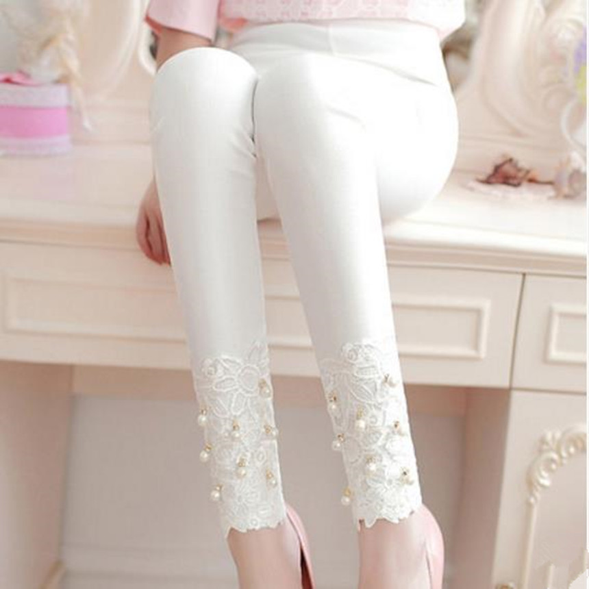 2020 Autumn Fashion Sliming Women Leggings Lace Pant Rhinstone Cotton Beading Pencil Pants