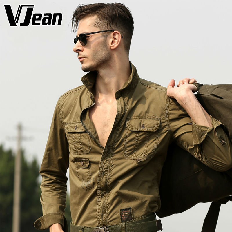 font b Men s b font Long Sleeve Military Casual font b Shirt b font