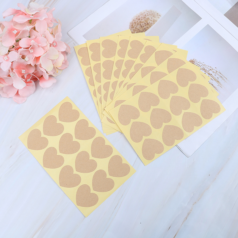 Open-Minded 120pcs/lot 35*35mm Heart Shape Blank Kraft Paper Label Sticker For Diy Hand Made Stickers Christmas Gift Various Styles Stationery Stickers