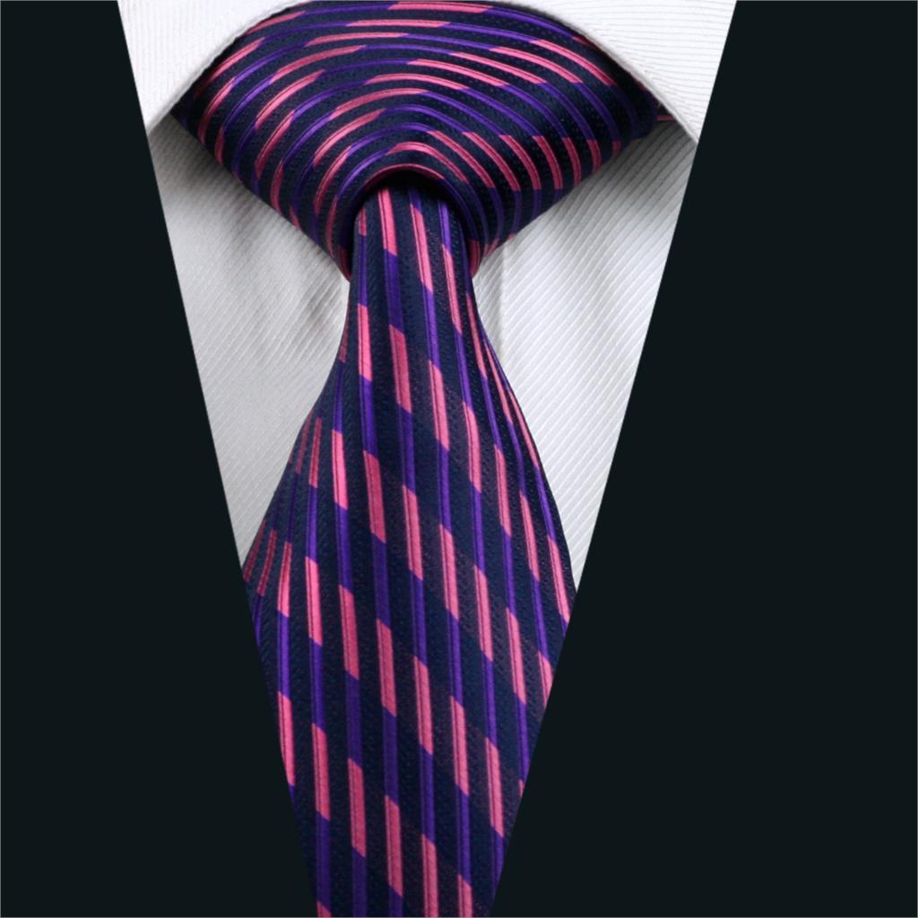 DH-246 Mens Tie Purple Stripe NeckTie Silk Jacquard Ties For Men Business Wedding Party Free Shipping