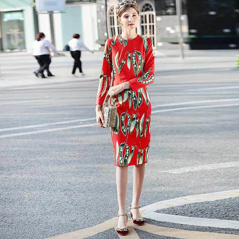 Milan New Quality Runway 2018 Spring Summer Fashion WomenS Party Beach Boho Print Pea Vintage Chic Elegant Long Sleeved Dress