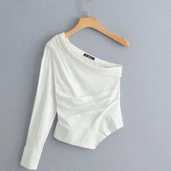 new women fashion solid color one shoulder pleated Shirt blouses women irregular hem white roupas femininas chemise shirt LS3222
