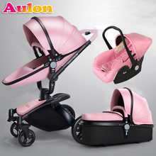 Aulon baby stroller 3 in 1 free shipping! Branded baby carriage, eco-leather baby carriage, euro car seat, basket, cradle for ne(China)