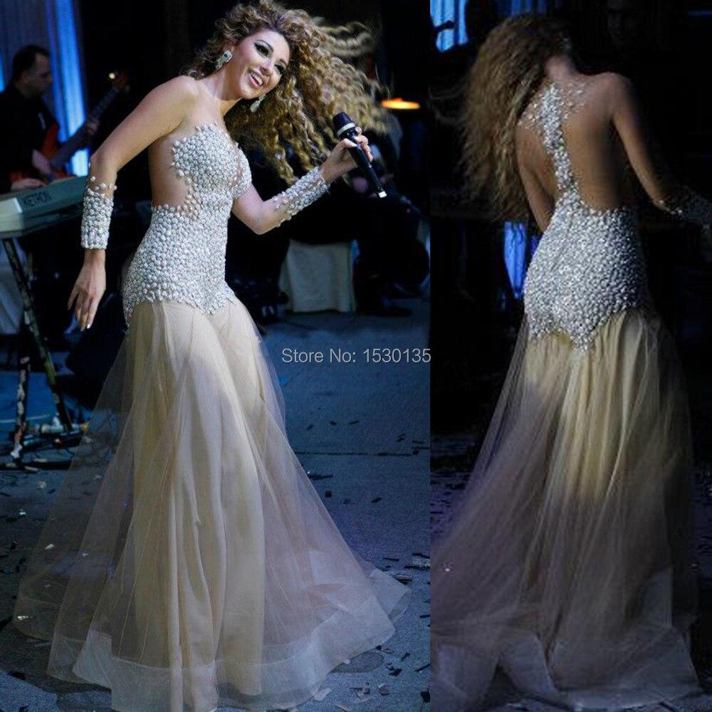 Charming Myriam Fares Celebrity Kleider Nude Durchsichtig Perlen ...