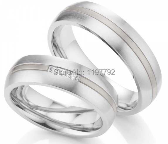 2014 personnalisé tailleur couleur or blanc titane acier chirurgical couple bijoux engager bagues ensembles