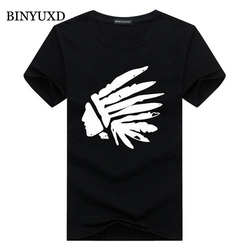 BINYUXD t shirt men 2016 summer 95% cotton 3d t shirt tops funny American Indian man's extended 5XL white black blue