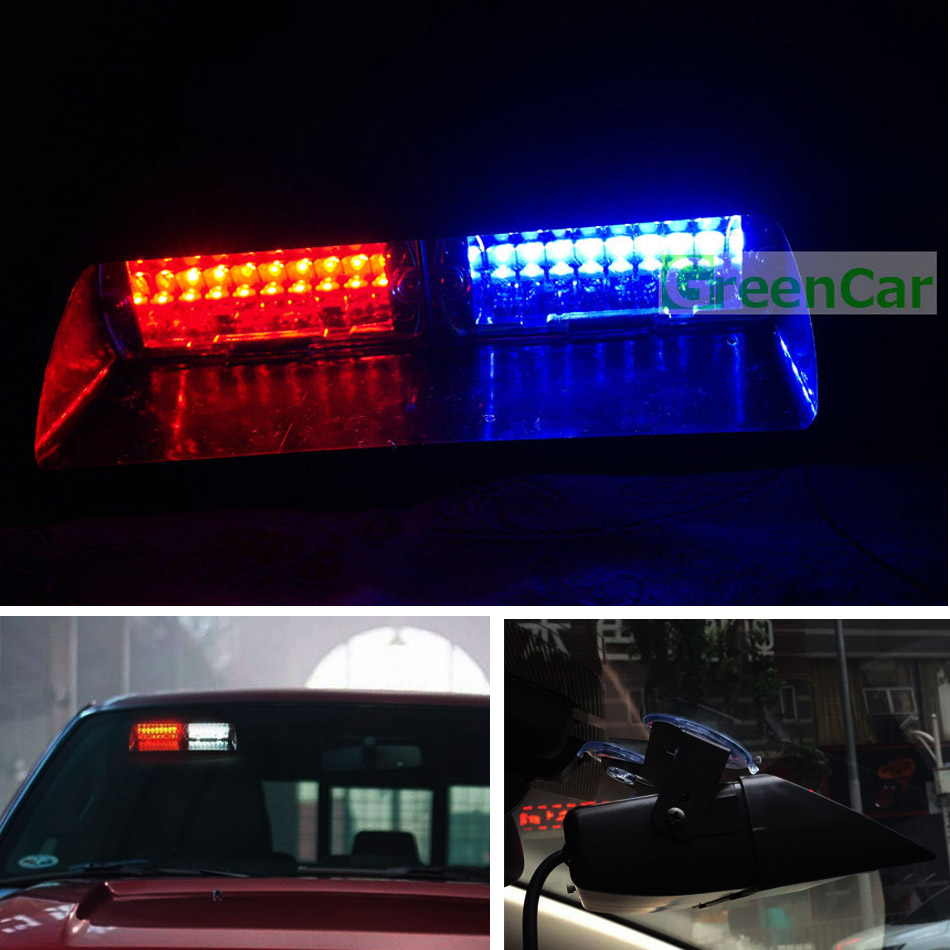 1pc 48W LED Car Windshield Warning Light S2 Viper Strobe Flash Signal Ambulance Fireman Police Beacon Light Red Blue Amber s2 shovels ray bead 96w led flashing police strobe intimidator windshield dash light
