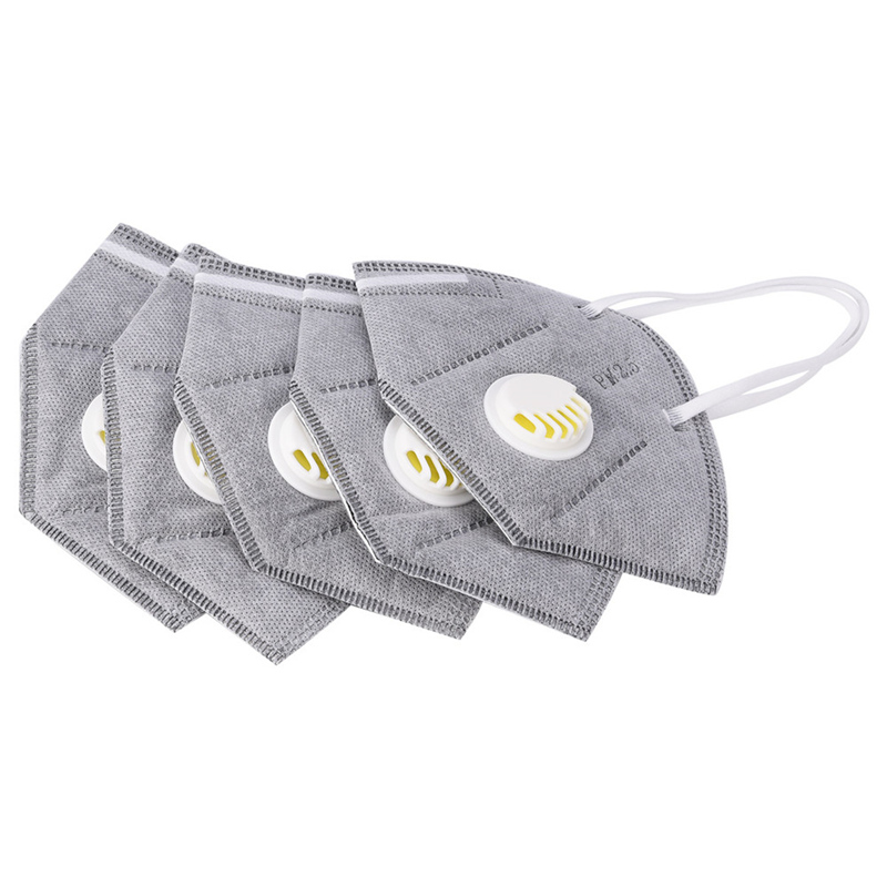 5Pcs Unisex Vertical Folding Nonwoven Valved Activated Carbon Anti Fog Dust Reusable Masks PM2.5 Respirator Mouth Mask Valve