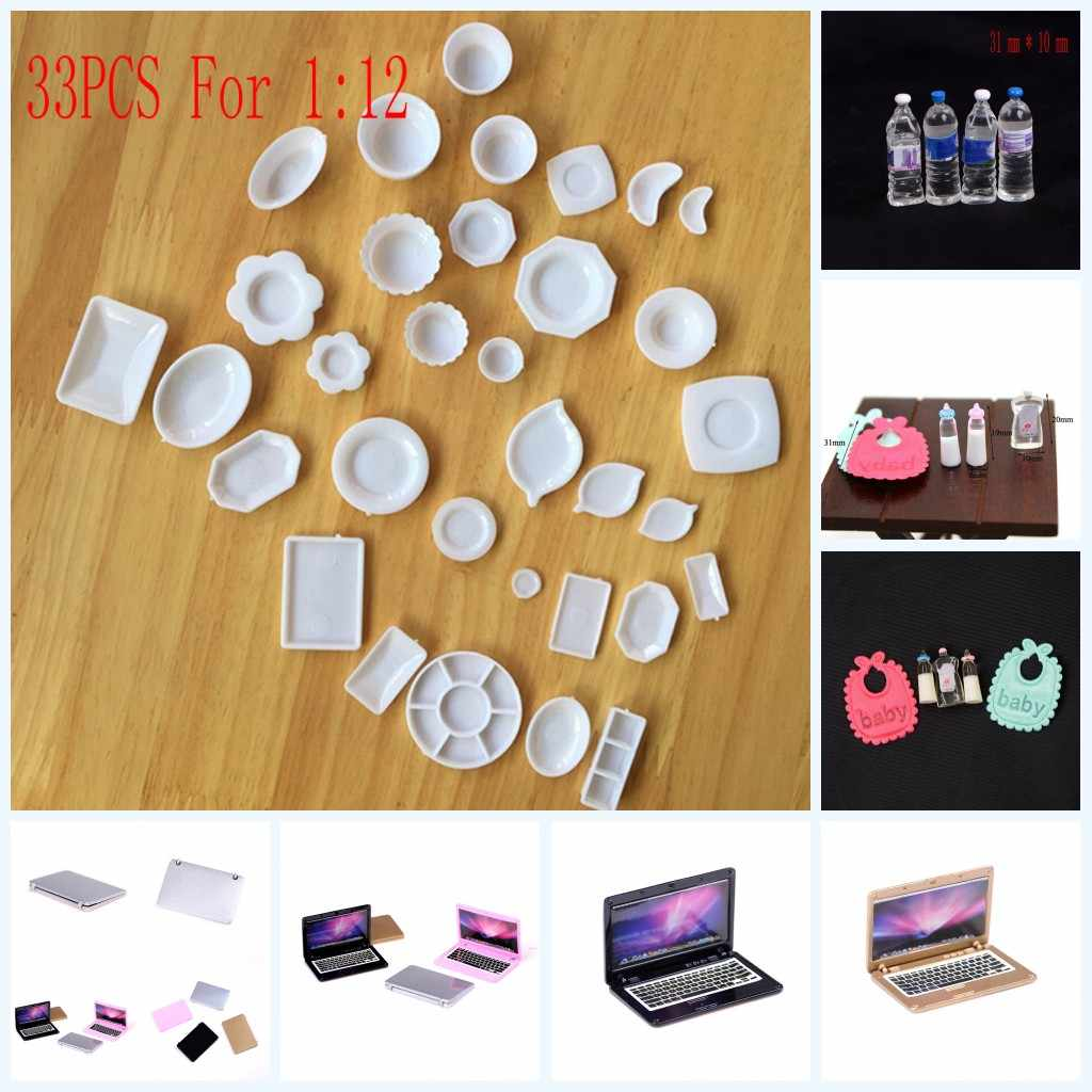 1 Set Mini Laptop Computer Dishes Phone Tableware Dollhouse Toys For 1/6 Or 1/12 Dollhouse Pretend Toy For Children