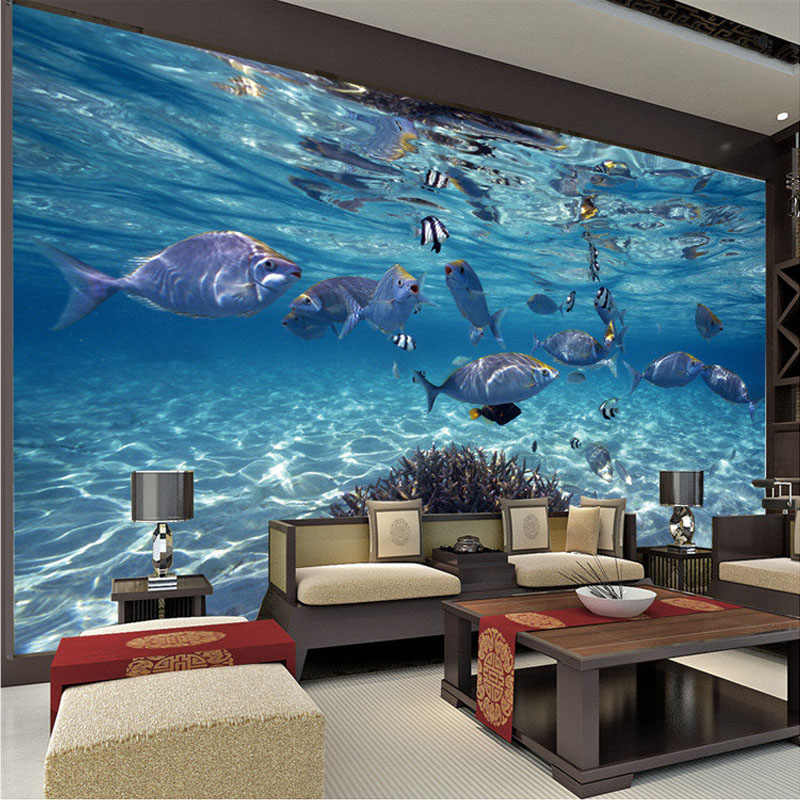תמונה מותאמת אישית טפט 3D סטריאוסקופית מתחת למים בעולם של דגי ים סלון ילדים חדר הטלוויזיה רקע 3D קיר טפט