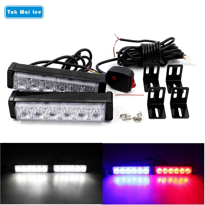 Tak Wai Lee 2X6 LED Strobe Flash Warning Car Light Styling White Red Blue Fireman Police Emergency Multiple Modes Fog Lighting