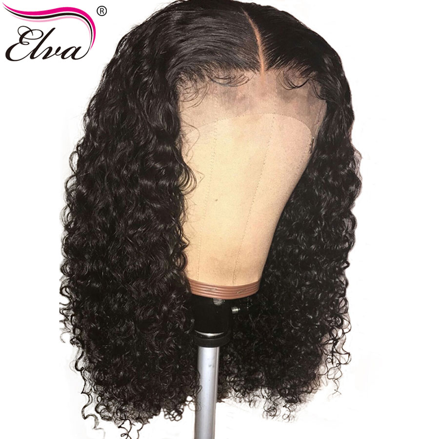 "Elva Hair 13x6 Lace Front Human Hair Wigs For Black Women Brazilian Remy Curly Human Hair Wig Pre Plucked With Baby Hair 10""-24""(China)"