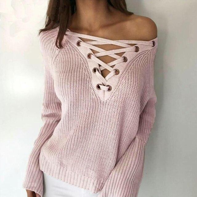 Flare smoves outono inverno manga comprida de malha camisola das mulheres lace up v neck pullover jumpers casual solto malhas camisola nova sw158