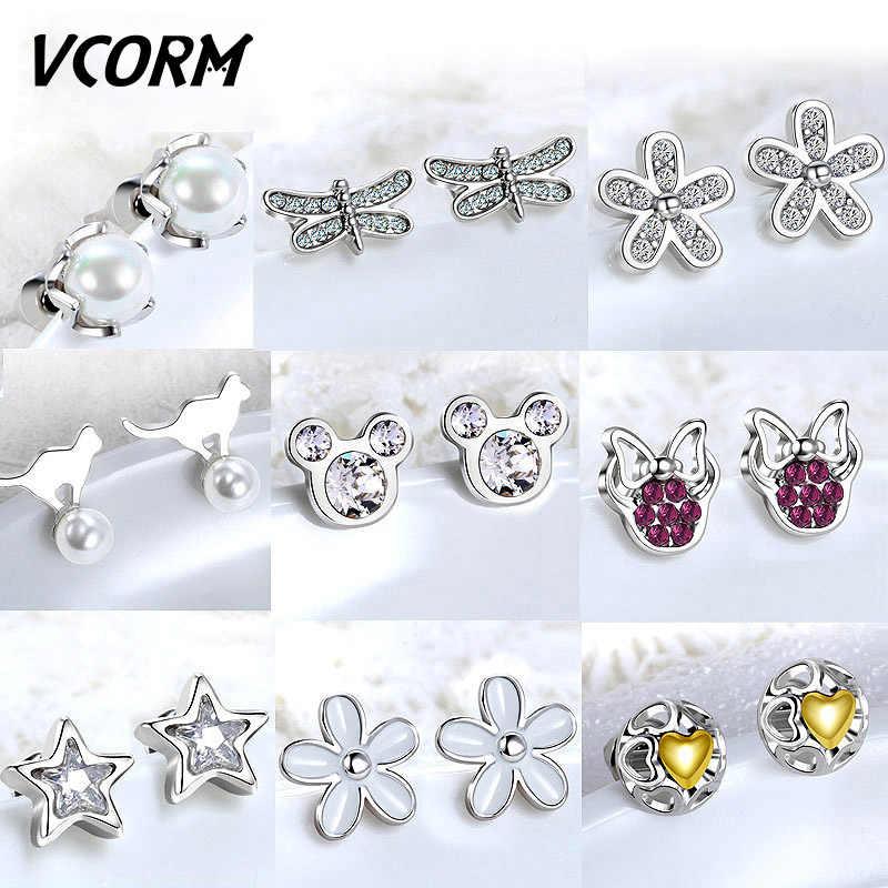 VCORM 2019 pendientes pequeños de acero inoxidable de moda para mujeres plata Linda perla de imitación AAA Zircon pendiente tendencia joyería