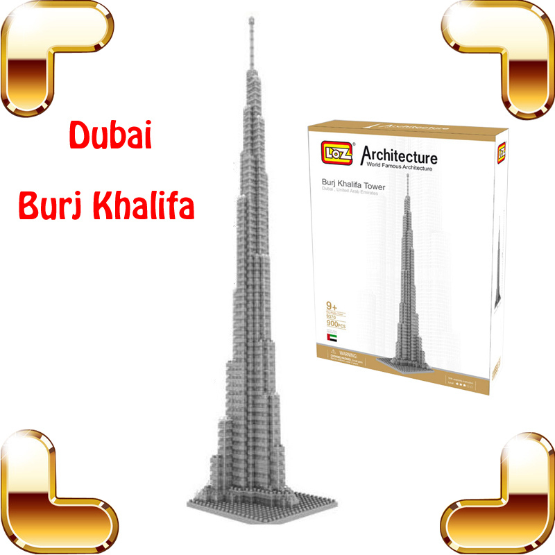 New Year Gift LOZ Diamond Block Dubai Burj Khalifa Tower 3D Model Building DIY Tower Bricks Intelligence Game Collection Toys new year gift burj khalifa 3d puzzle model building led tower diy display decoration toys education iq high collection pro game