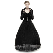 Punk Black Woman Tail Coats Gothic Lace Long Dress Coat Turn-down Collar Party Jacquard Formal Jackets