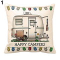 Hot!  Touring Owl Square Happy Campers Cushion Throw Pillow Case Home