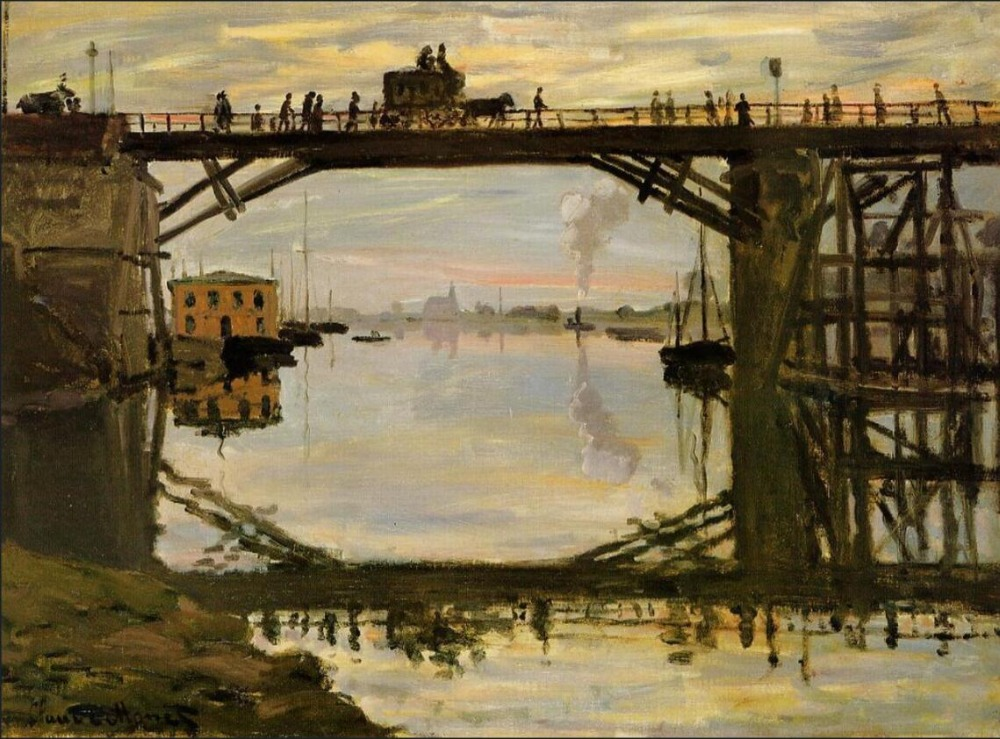 High quality Oil painting Canvas Reproductions The Wooden Bridge (1872) By Claude Monet hand paintedHigh quality Oil painting Canvas Reproductions The Wooden Bridge (1872) By Claude Monet hand painted