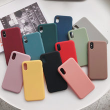 Plain Soft Color Phone Funda For iphone XR XSMAX Silicone TPU Case For iphone 7 8 6 6S Plus X XS 10 Case Shock Proof Cover Capa(China)