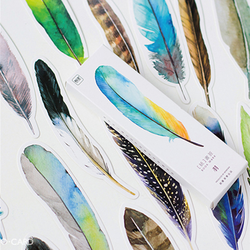 30pcs/pack Feather Shape Box Set Bookmark Stationery Paper Reminder Messgae Label Page Holder For School And Office
