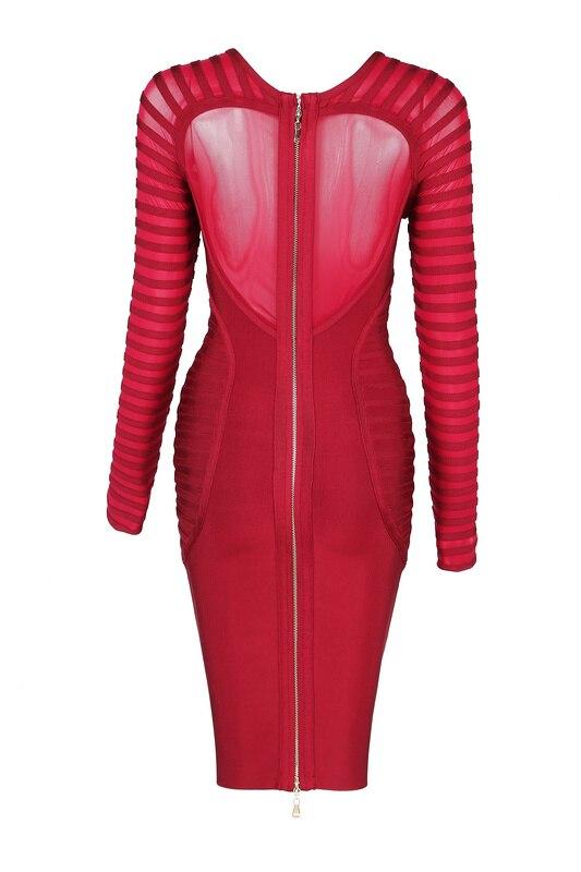 2017 Printemps À Club Rouge Femmes Belle Vin Manches Dress Célébrité Noir Longues Partie as Bandage De Photo Photo As Vêtements Nouvelle Nicole Yq5PCx