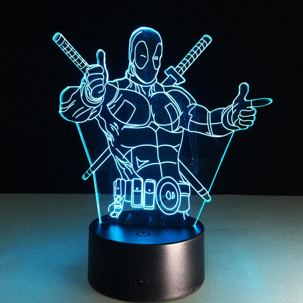 Deadpool 3D بقيادة مصباح طاولة ضوء الليل ملون أكريليك USB الإضاءة LED الإبداعية Deadpool عمل الشكل