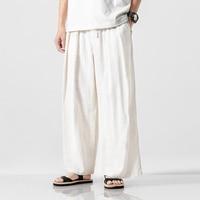 2019 Men Cotton Linen Harem Pants Vintage Hip Hop Baggy Wide Leg Pants
