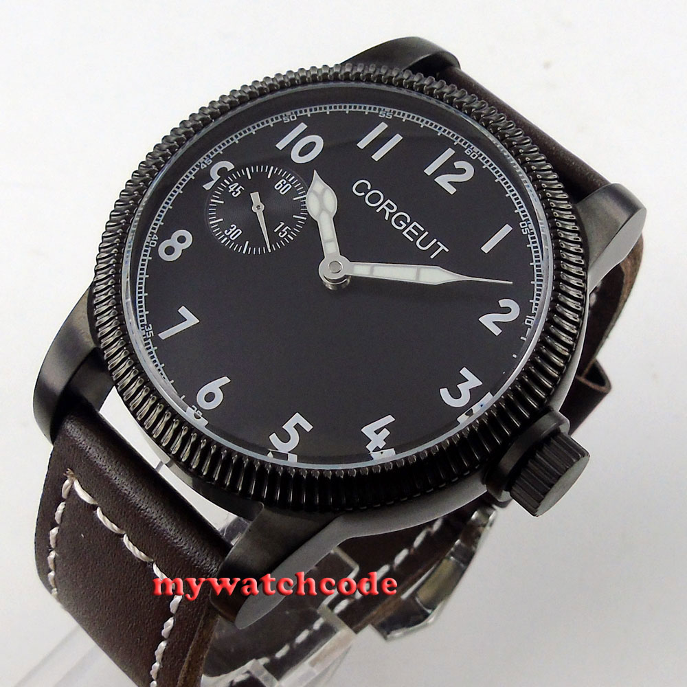 46mm corgeut black dial PVD case 6497 movement hand winding mens watch C62 46mm corgeut gray dial pvd case tripe day quartz chronograph mens watch c30