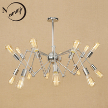 цены Modern iron spider pendant light Loft industrial lamp retro LED E27 with 6/8/10/16 lights for parlor hotel living room bedroom