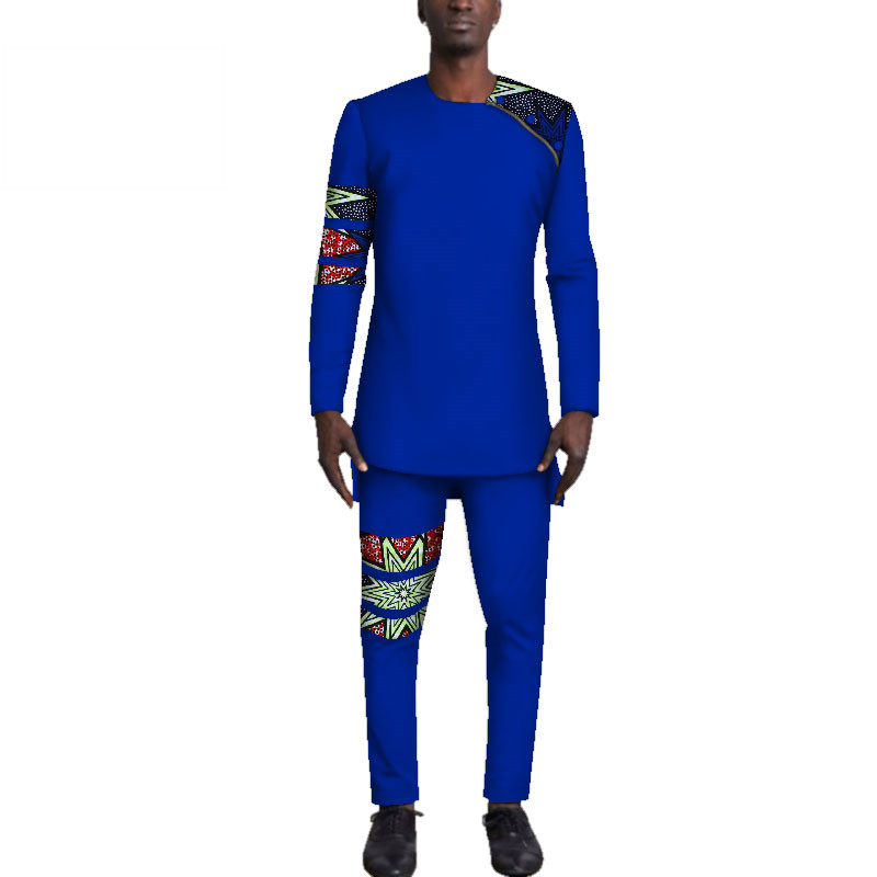 Casual-Mens-African-Clothing-Bazin-Riche-Patchwork-Top-Shirt-and-Pants-for-Men-Custom-100-Cotton