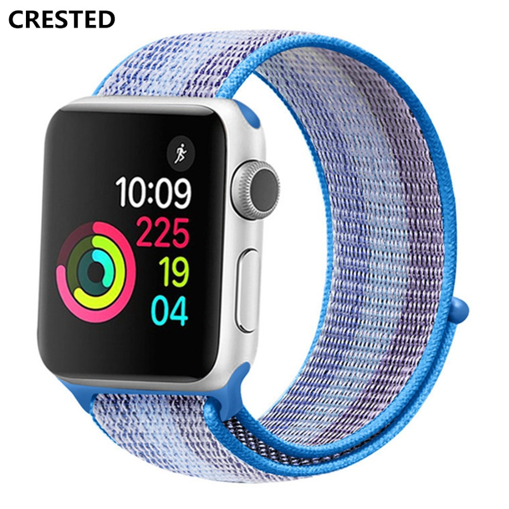 CRESTED Sport Loop For Apple Watch 4 Band strap 44mm 40mm woven nylon iWatch 4/3/2/1 42mm/38mm wrist Bracelet Breathable Belt crested sport woven nylon strap for apple watch band 42mm 38mm 44mm 38mm bracelet wrist belt watchband for iwatch 4 3 2 1