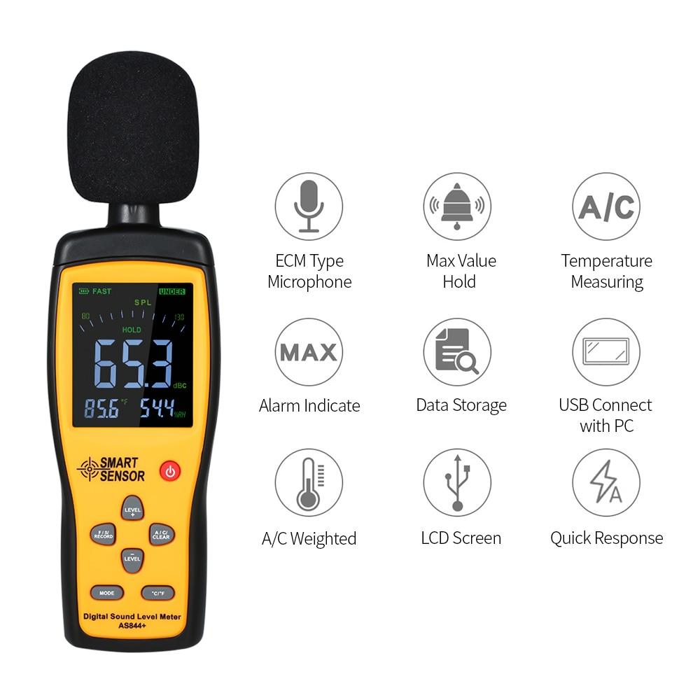 Sound Level Meter,30-130dBA Digital Sound Level Meter LCD Decibel Meter Noise Measuring Instrument Decibel Monitoring Tester