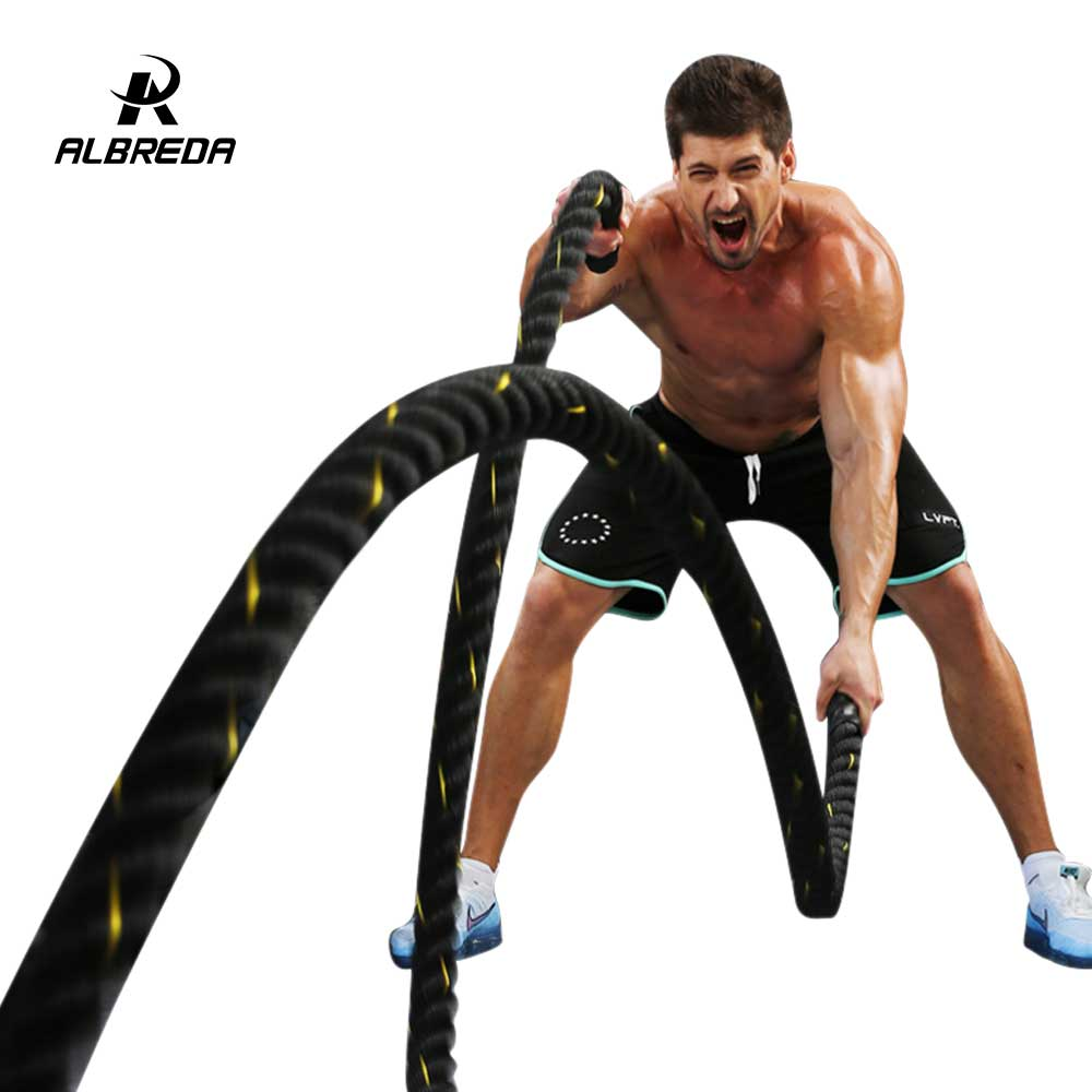 ALBREDA 1.5x50' Poly Dacron Power Training Rope Battle Ropes Gym Workout Rope fitness training 50ft sports exercise 15m*38mm exercise spin bike home gym bicycle cycling cardio fitness training workout bike lose weight fitness equipment load indoor